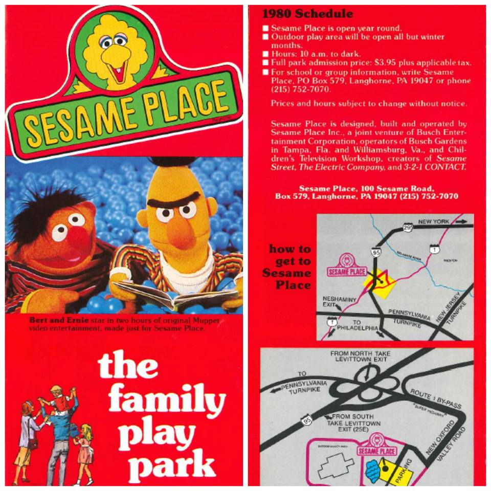 Brochure from inaugural year of Sesame Place, copyright Sesame Place, Sesame Workshop.