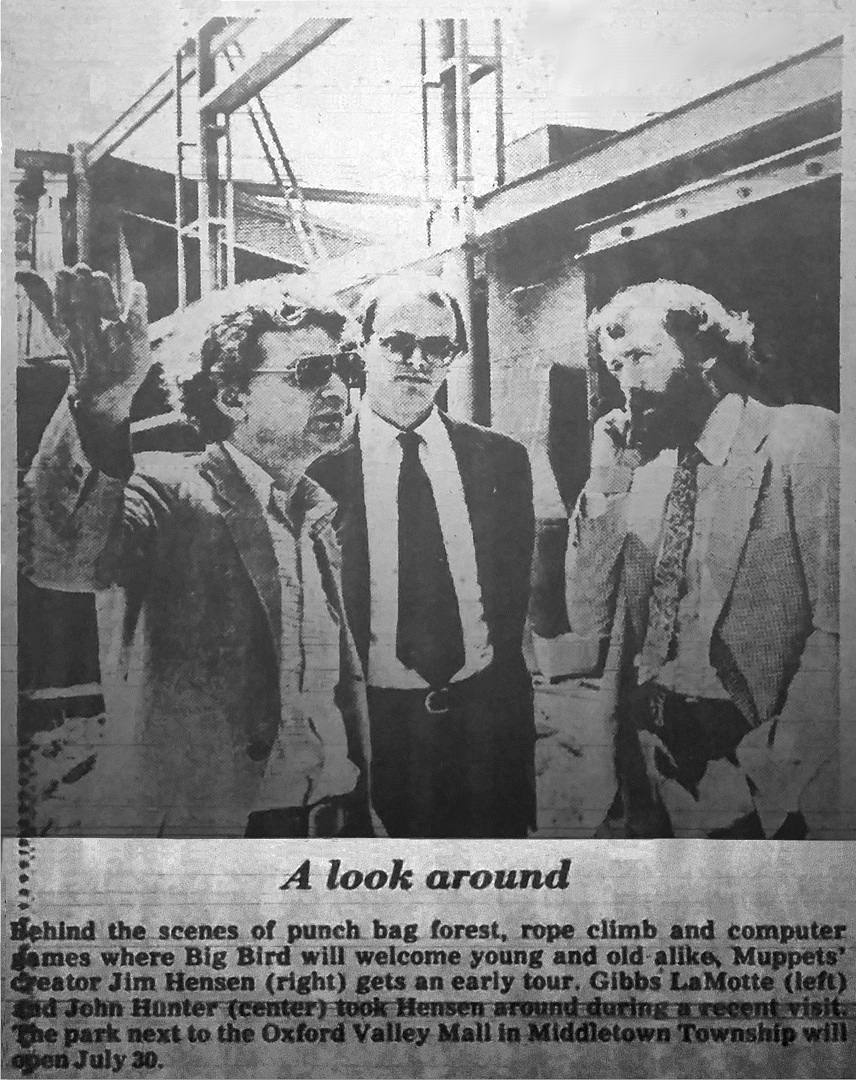 Jim Henson viewing the construction of Sesame Place. Bucks County Courier Times. January 1980.